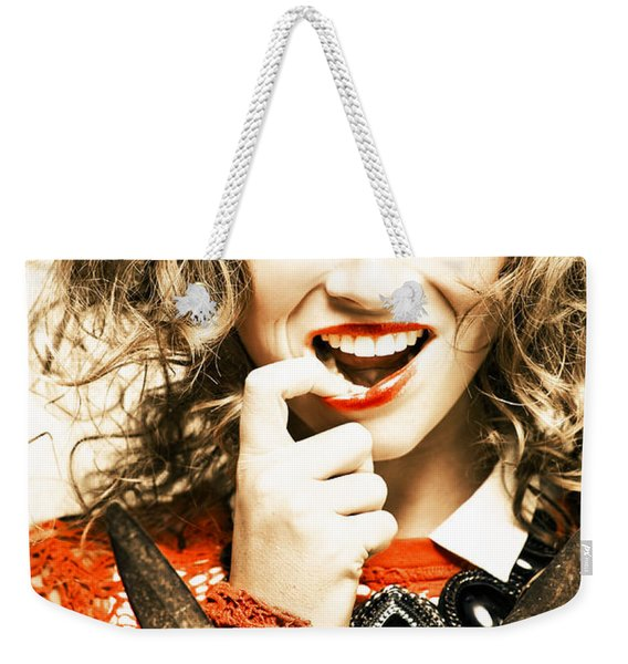 Fifties Makeup And Hairstyle Fashion Model Weekender Tote Bag
