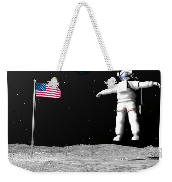 First Astronaut On The Moon Floating Weekender Tote Bag