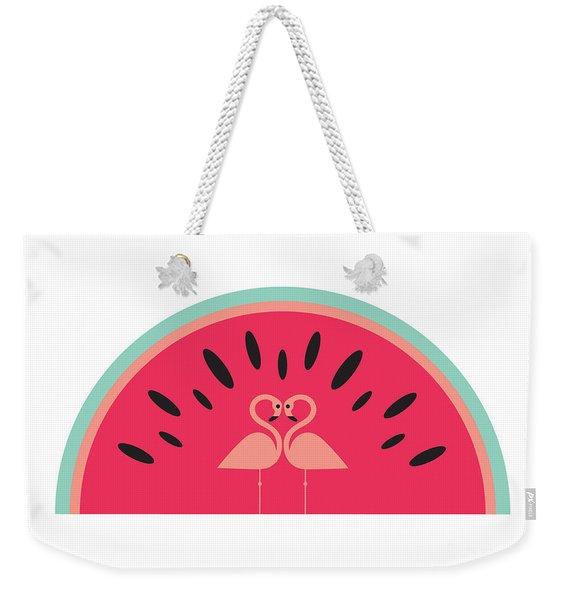 Flamingo Watermelon Weekender Tote Bag