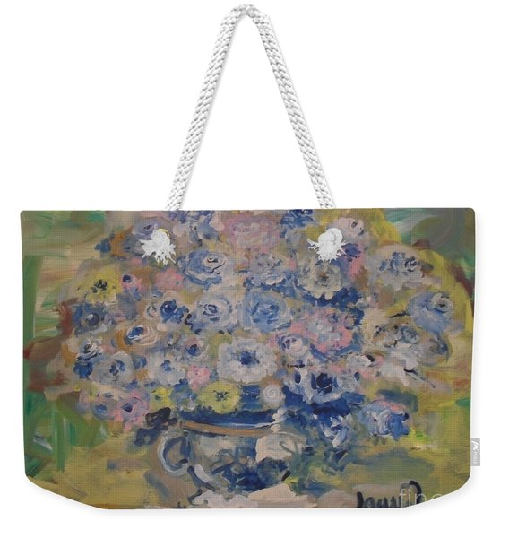 Weekender Tote Bag featuring the painting Flow Bleu by Laurie Lundquist