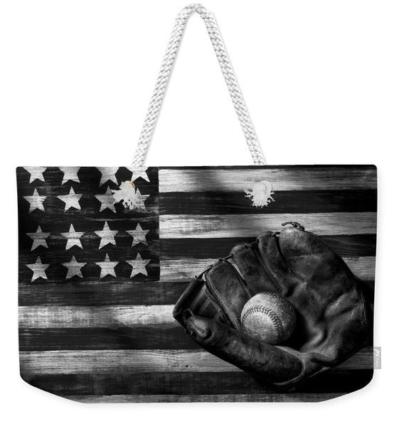 Folk Art American Flag And Baseball Mitt Black And White Weekender Tote Bag