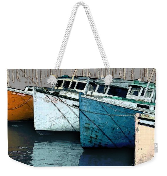 Four Boats In Blue Weekender Tote Bag