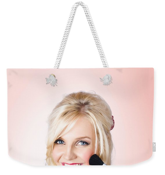 Fresh Faced Makeup Girl With Cosmetic Brush Weekender Tote Bag