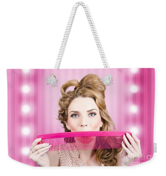 Funny Hairdresser With Cute Hairdo. Pin Up Haircut Weekender Tote Bag