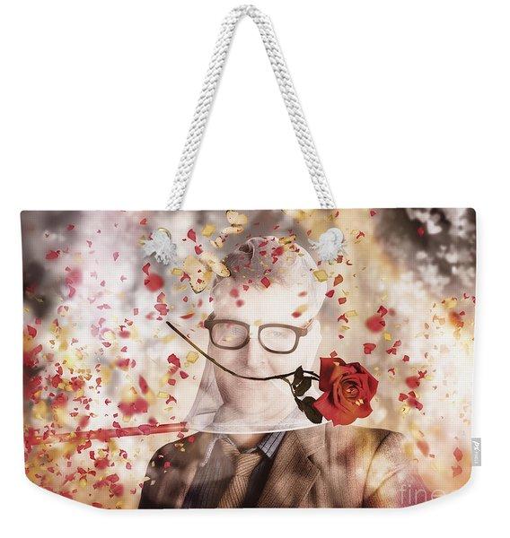 Funny Valentine Nerd Caught In Net Of Romance  Weekender Tote Bag