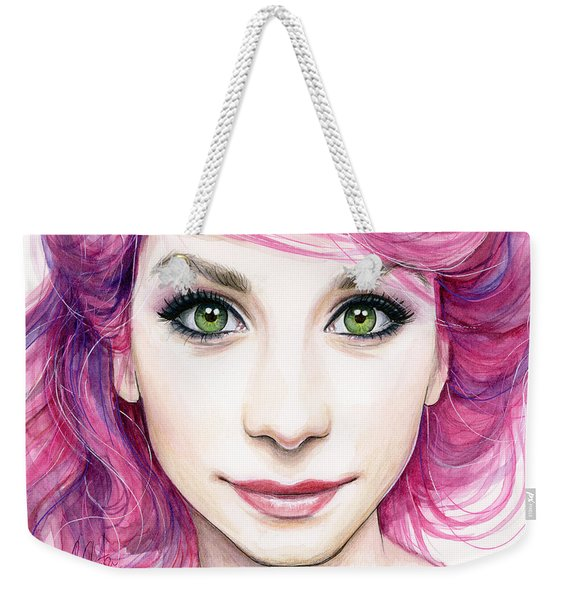 Girl With Magenta Hair Weekender Tote Bag