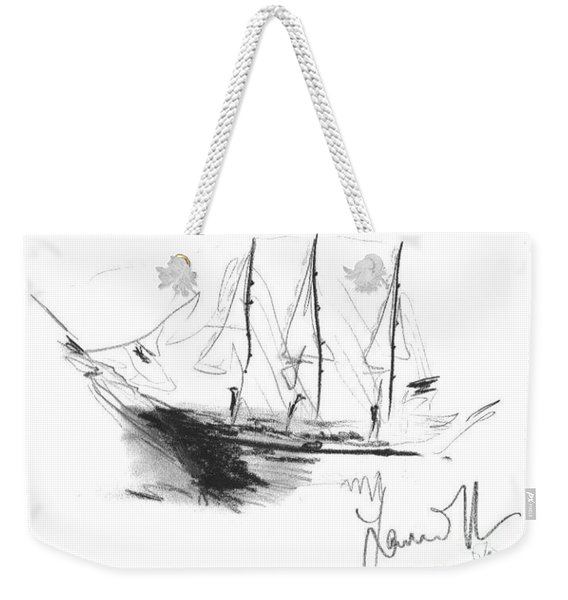 Weekender Tote Bag featuring the drawing Great Men Sailing by Laurie Lundquist