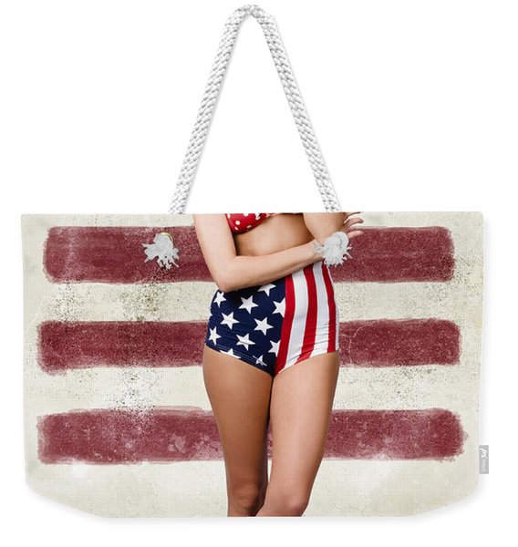 Grunge Pin Up Woman In American Fashion Style Weekender Tote Bag