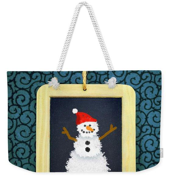 Hanged Xmas Slate - Snowman Weekender Tote Bag