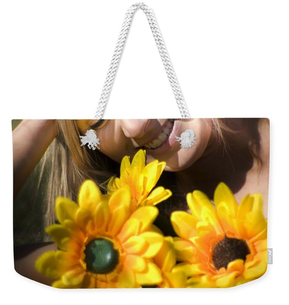 Happy Woman With Sunflowers Weekender Tote Bag