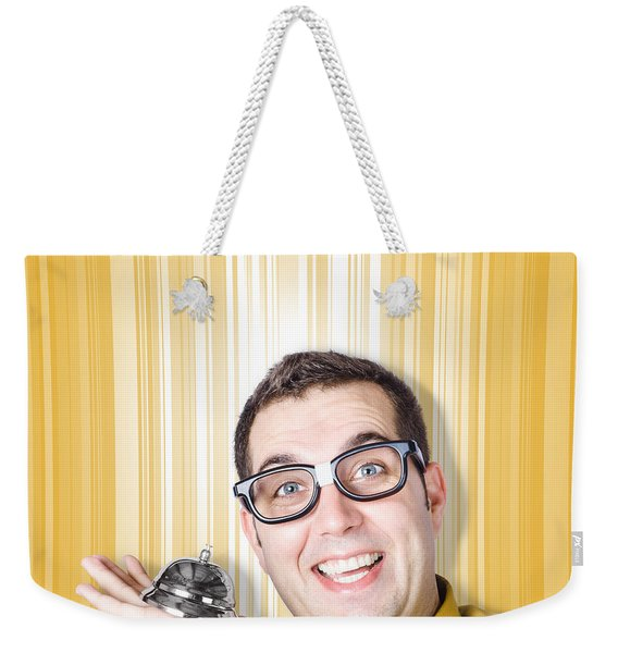 Help Desk Worker Ready To Assist With Ring Bell Weekender Tote Bag