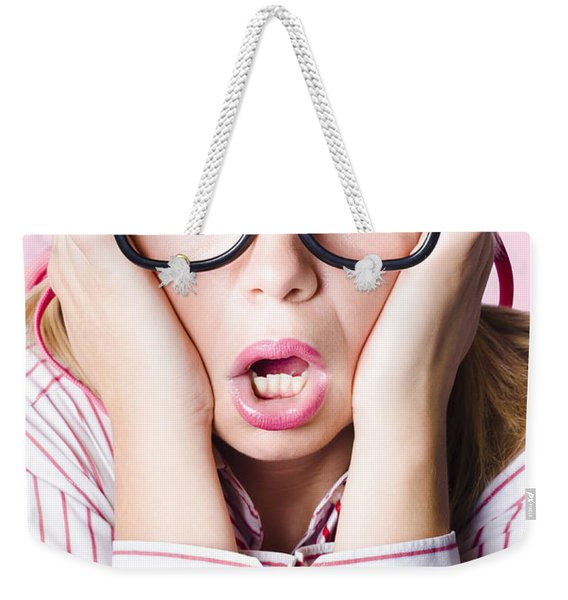 Hysterical Business Woman Having Panic Attack Weekender Tote Bag