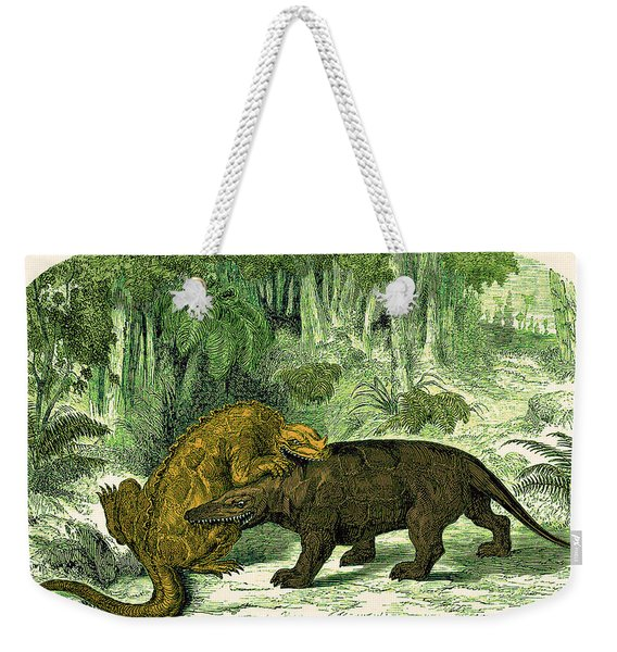 Iguanodon Biting Megalosaurus Weekender Tote Bag