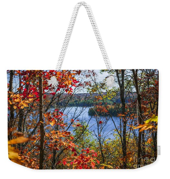 Lake And Fall Forest Weekender Tote Bag