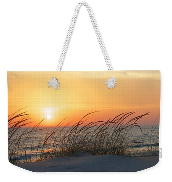 Weekender Tote Bag featuring the photograph Lake Michigan Sunset Panorama by Mary Lee Dereske