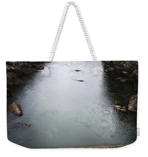 Landscape Of A Water Canyon With Rock Waterfall Weekender Tote Bag