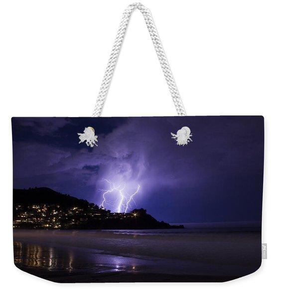Lightning Over The Ocean Weekender Tote Bag