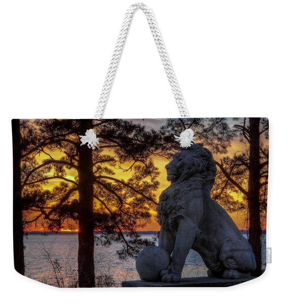 Lion At Sunset Weekender Tote Bag
