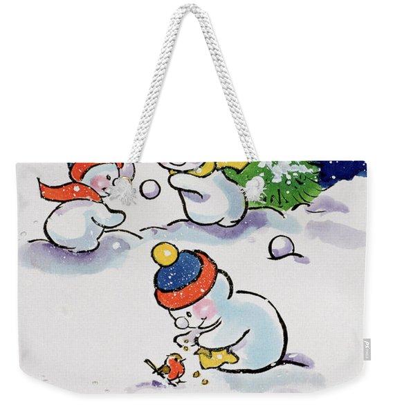 Little Snowmen Snowballing Weekender Tote Bag