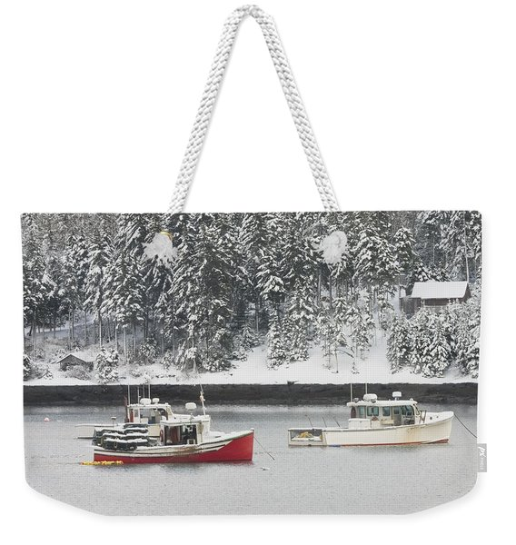 Lobster Boats After Snowstorm In Tenants Harbor Maine Weekender Tote Bag