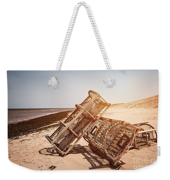Lobster Traps On Beach Weekender Tote Bag