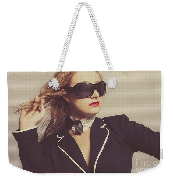 Luxury Fashion Girl In Exclusive Sunglasses Weekender Tote Bag