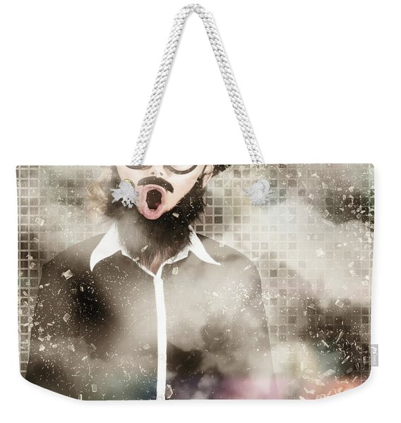 Mad Scientist With Solution To Chemical Reaction  Weekender Tote Bag