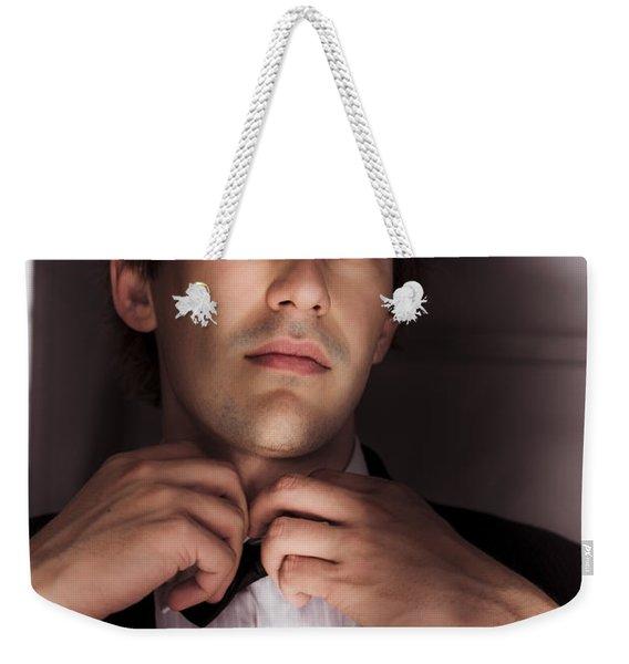 Man Getting Ready For Black Tie Formal Event Weekender Tote Bag