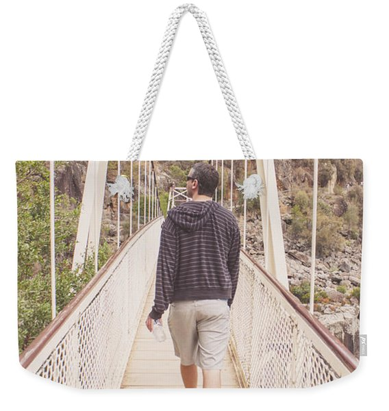 Man On Alexandra Suspension Bridge In Tasmania Weekender Tote Bag