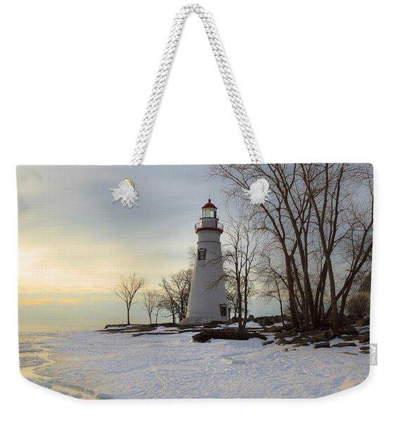 Marblehead Lighthouse Winter Sunrise Weekender Tote Bag