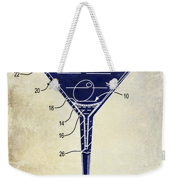 Martini Glass Patent Drawing Two Tone  Weekender Tote Bag