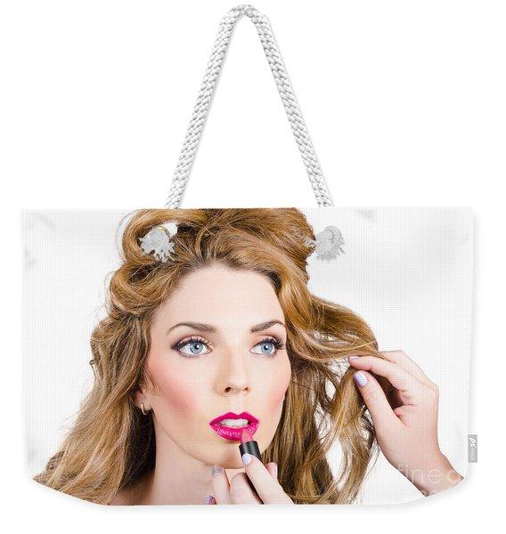 Model Makeup At Work Weekender Tote Bag