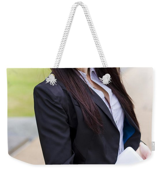 Modern Business Woman With Laptop Weekender Tote Bag