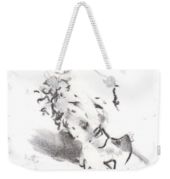 Weekender Tote Bag featuring the drawing Momere by Laurie Lundquist