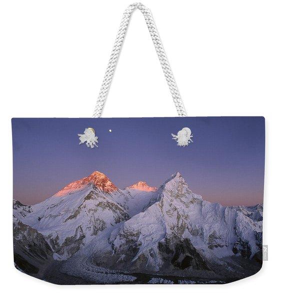 Moon Over Mount Everest Summit Weekender Tote Bag