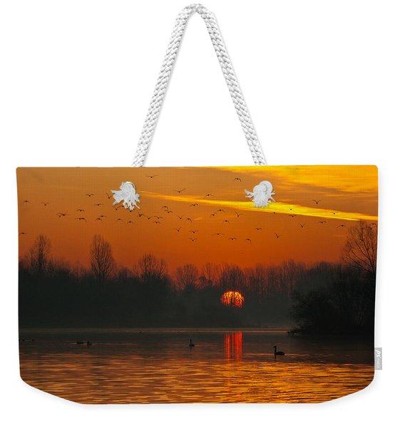 Morning Over River Weekender Tote Bag