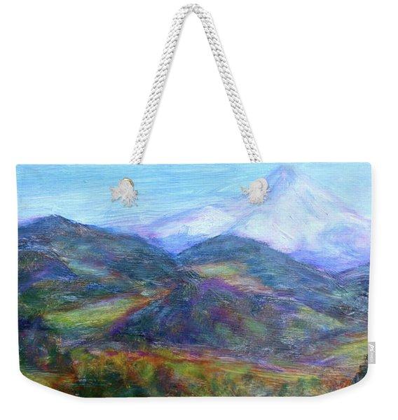 Mountain Patchwork Weekender Tote Bag