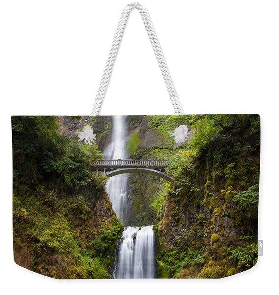 Weekender Tote Bag featuring the photograph Multnomah Falls by Brian Jannsen