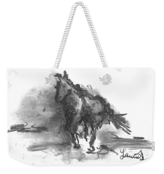 Weekender Tote Bag featuring the drawing My Stallion by Laurie Lundquist