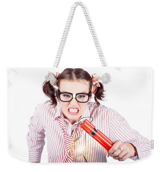 Nerd Business Woman Holding Exploding Time Bomb Weekender Tote Bag