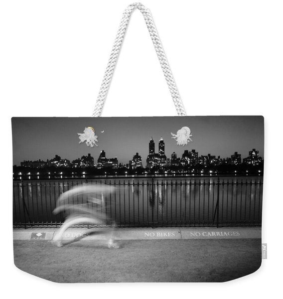 Night Jogger Central Park Weekender Tote Bag