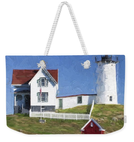 Nubble Lighthouse Maine Painterly Effect Weekender Tote Bag