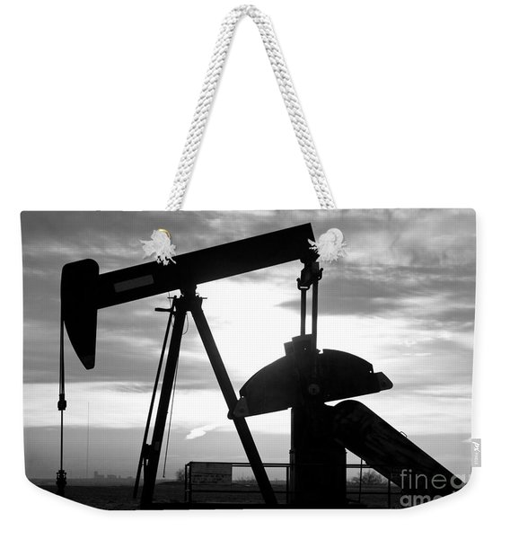 Oil Well Pump Jack Black And White Weekender Tote Bag