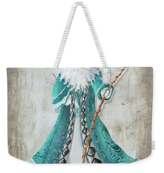 Old World Style Turquoise Aqua Teal Santa Claus Christmas Art By Megan Duncanson Weekender Tote Bag