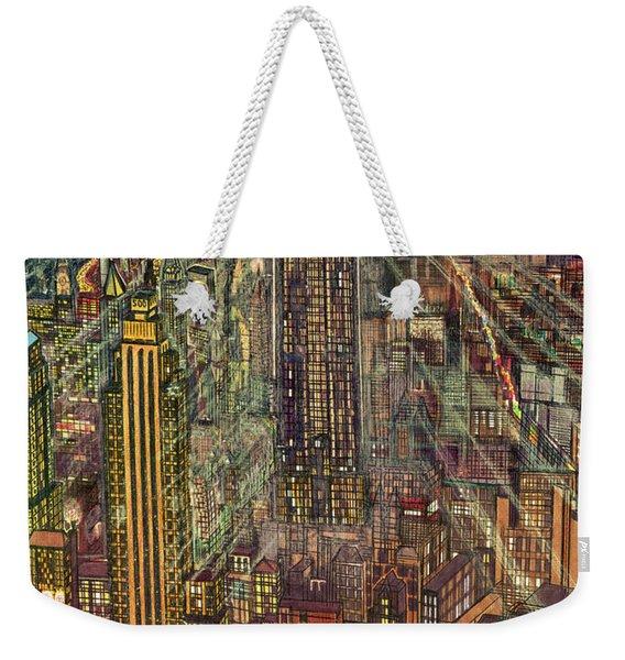 New York Mid Manhattan 1971 Weekender Tote Bag