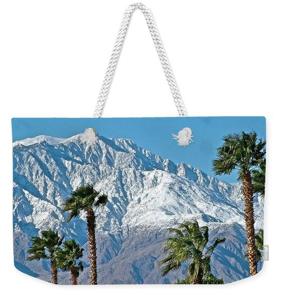 Palms And Peaks In Winter From Desert Hot Springs-ca Weekender Tote Bag