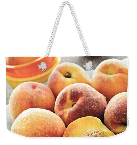 Peaches On Plate Weekender Tote Bag