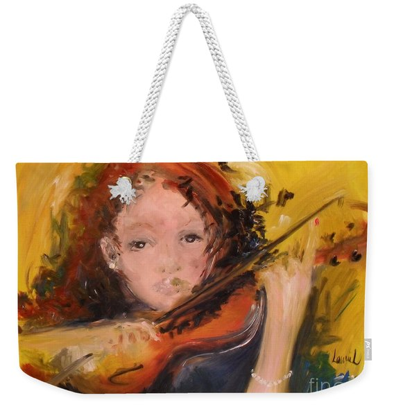 Weekender Tote Bag featuring the painting Pearl by Laurie Lundquist