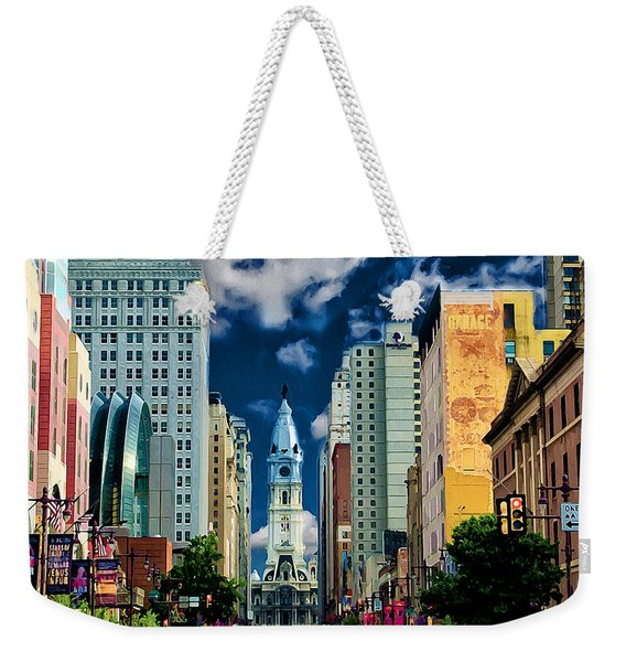 Philadelphia Blue Skies Weekender Tote Bag