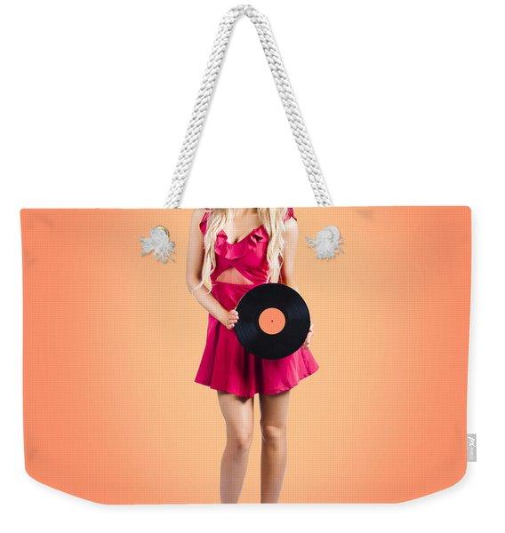 Pin-up Music Girl Holding Vinyl Record Lp Weekender Tote Bag